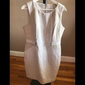 Calvin Klein sleeveless beige/white dress. Size 14